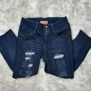 Wax Jean Butt I Love You Distressed Crop Jeans 5